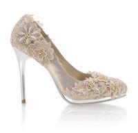 Rhinestone lace wedding shoes - Lace flowers Diamond cm Heels Waterproof Prom Evening Party Dress Lady Bridal Wedding Shoes