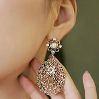 Wholesale Retro large crystal Earrings Dangle chandelier hollow water drop earring charm gift fashion jewelry