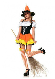 Wholesale Halloween Costume Cosplay Womens Witch Costume Sexy Dress Cool Hat Yellow Pumpkin Dress on Sale