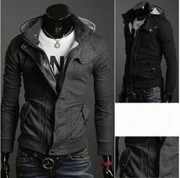 2092102 - 2015 New Fashion Men Slim Top Designed Sexy Cardigan Hoodies Surcoat Garments Black Grey Free Shipping