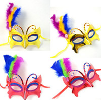 feather butterflies - Halloween Mask child adult butterflies dance one side feather painting princess mask