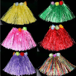 Wholesale Cute Girls Hawaii Flower Grass Skirt Elastic performance Dancing Dress Halloween
