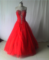 Wholesale Sexy Custom Sweetheart Beaded Bandage Ball Gowns Prom Pageant Corset Bridal Red Wedding Dresses