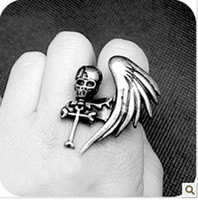 Wholesale Fashion Jewelry Gothic Style Monoplane Wings Skull Cross Personalized Ring