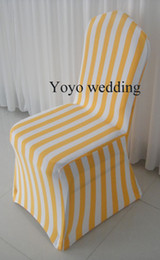 Wholesale White & Orange Stripe Print Spandex Chair Cover With Free Shipping For Wedding,Party,Hotel Use