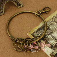 Wholesale 12set DIY Jewelry Vintage Key Pendant Key Ring ZAKKA Charm Pendant Antique Bronze Key Chain
