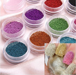 Wholesale Beautiful caviar nail Art Acrylic Steel Ball Manicure DecorationTips Colors per set cheap