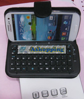 Wholesale 100 Stand Leather Case With Bluetooth Keyboard For Samsung Galaxy S3 S III I9300 Detachable