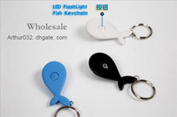 Wholesale Recommend Doulex Keychain LED Flashlight Key Holder Chain Buckle Fish Charms Plastic Pendant