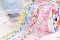 achat en gros de ruban organza nylon imprimé-Nylon Organza Imprimé Ruban cerise ruban d'emballage cadeau & BRICOLAGE bandeau bowknot 200Y/rouleau Bonjour