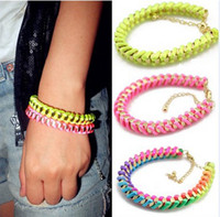 Wholesale New Coming Fashion Lovely Golden Metal Silk Rope Handmade Bracelet mix color for women s