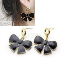Wholesale vintage big bow tie Earrings charms black stud lovely women Dangle earring gift sale fashion jewelry
