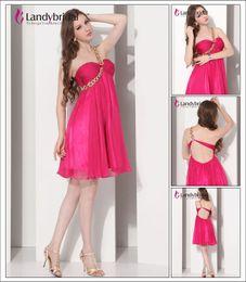 Wholesale Size New Landybridal One Shoulder Sheath Column Floor Length Chiffon Evening Party Prom Dress E12004