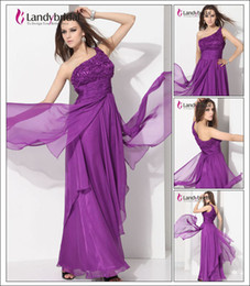 Wholesale Size New Landybridal One Shoulder Sheath Column Floor Length Chiffon Evening Party Prom Dress F12012