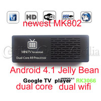 Wholesale MK808 MK808B Android Mini PC RK3066 GHz dual core tv stick HDMI Android TV Box WITH Bluetooth