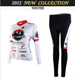 WOMEN'S WINTER FLEECE THERMAL CYCLING LONG JERSEY + PANTS 2012 ROCKY MOUNTAIN WHITE-PICK SIZE:XS-XXL R09