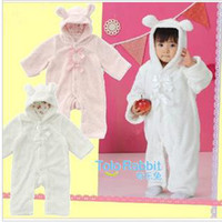 Wholesale Baby romper Warm rabbit style one piece with foot cover Baby jumpsuit Bowknot Jumper Bodysuit
