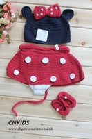 3-24M Crochet Hats Halloween Girl Minnie Mouse hat with Red Bow Diaper Cover and Shoes to Match Spring Handmade Crochet Baby Wear
