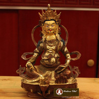 Wholesale F Tibetan Buddhist Yellow Jambhala Bronze Buddha Statue CM Metal Sculpture Figurine Decoration