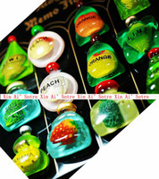 Cheap Popular In Europe 12 styles Translucent Fruit Bottles Amber Fridge Magnet