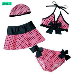 Wholesale Pink dot bowknot girls swimsuits suits Kids Swimwear Baby girls dot Bikini cap skirt piece set