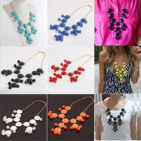 Wholesale New Women resin gem Bubble Bib Statement Fashion Necklace mix color hot sale