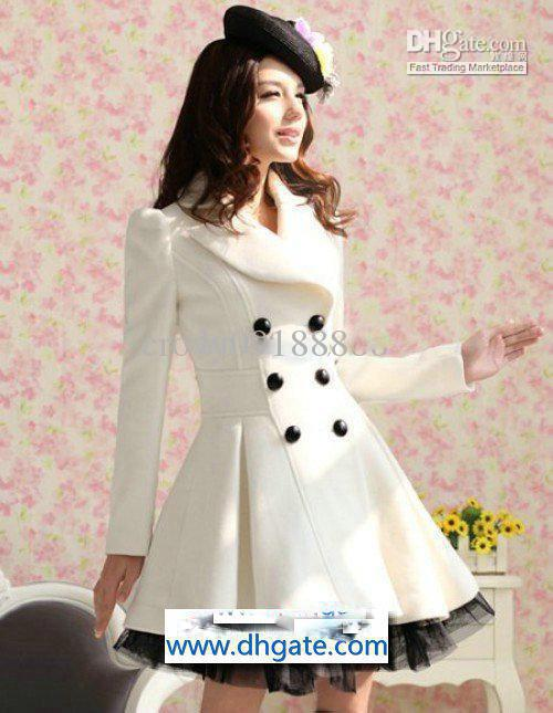 New Trench Coats Women's White Wool Coat Long Sleeve Dresses From
