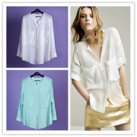 Wholesale Women Long Sleeve Shirt OL Style Chiffon Shirt Big Chest Pockets S M L