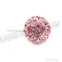Wholesale 15pcs Polymer Clay Pink Rhinestones Earring Charms Iron Earring Findings Fit Earrings