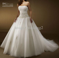 Wholesale Custom Made Strapless Ball Gowns Ruffled Satin Tulle Applique Chapel Wedding Dresses Bridal Gowns312