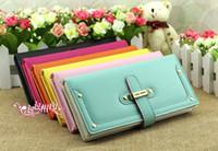 Wholesale 2012 New fashion Vintage Womens girl rivet belt buckle PU leather wallet burse purse bag color