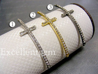 Wholesale Silver Gold Gunmetal Black Plated Crystal Rhinestone Sideways Cross Bracelet Connectors