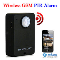 Wholesale Wireless PIR MP Alert Sensor Motion Detector GSM Alarm System Monitor SMS Control Black amp White