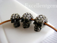 Wholesale 9x14mm Metal Gunmetal Black With Crystal Rhinestones In Skull Shape Beads Findings
