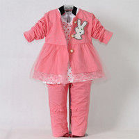 Wholesale 3PCS Hot Pink Lace Baby Clothing Set Girls Jacket Hoodies Children Trousers With Rabbit Kids Garment