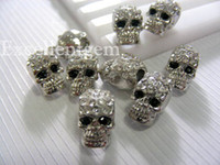 Wholesale 7x12mm x Antique Silver With Crystal Rhinestones In Skull Shape Charm Metal Skull Beads