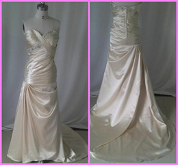 Free shipping champagne slim fit sweetheart ruched and beading zipper sweep trainevening dress