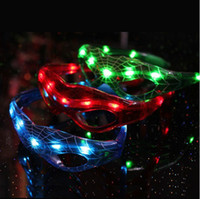 Wholesale Spider Man LED Flashing Light Up Glasses Slotted Shutter Shades Party Halloween Christmas Mask