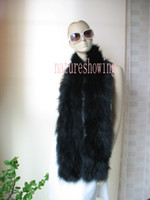 Wholesale Real fox fur knitted scarf cape black CM CM
