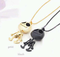 Wholesale Hot Sale Halloween Skull Necklace Big Eye ET Skeleton UFO Pendant Black Golden Silver