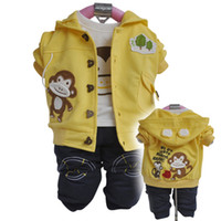 Wholesale Kids boys T three pieces sets monkey hoodies T shirts pants outfits sets
