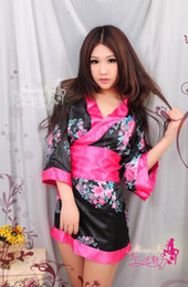 Wholesale New Sexy Lingerie Women Sleepwear Cosplay Yukata Costumes Dress Robe pajamas Belt Printed Plus