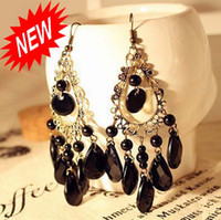 Wholesale Fashion Earrings Women Rings Jewelry Retro Hollow Water Drop Degsign Eardrop L ER03