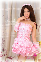 Wholesale Sexy Lingerie Women Costumes Cosplay Queen Uniform Layered Dress Pink Lace Ruffled Princess