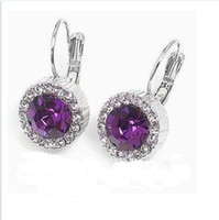 Wholesale Fashion Sterling Silver purple crystal earrings christmas gift pair