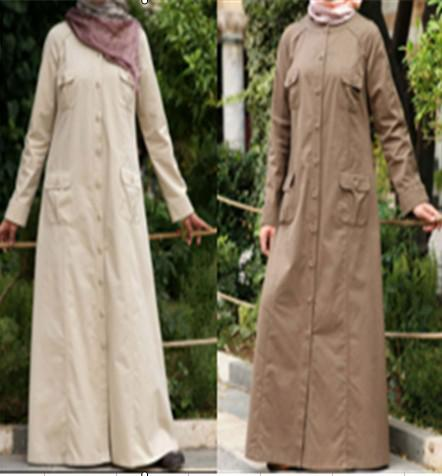 women dress islamic 2015 Soft brushed linen fabric Ramadan two-tone colour matching islam fashion ladies clothing store P-140605