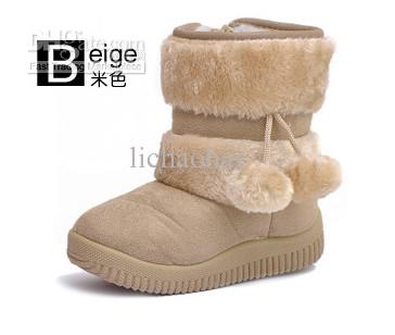 Children Double Ball Snow Boots / Boots / Little Princess Girl ...