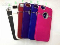 achat en gros de dur iphone5 métallique-Boîtier dur de luxe de couverture de cas dur 2012 le plus chaud avec le trou rond de bague de métal pour iphone5 5G 5