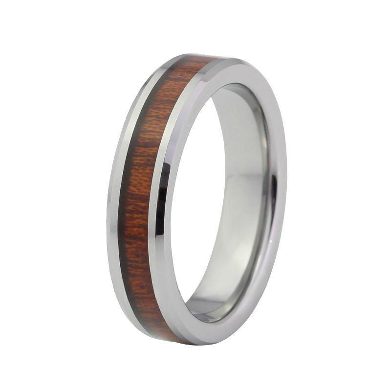 cheap 6mm wood inlay tungsten carbide wedding bands