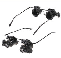 Wholesale 2012 New Eyeglasses Jeweler X Magnifier Magnifying Glass Loupe LED Light Watch Repair RA3165
